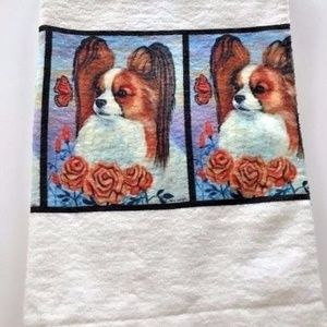 Other - Papillon hand towel White Red Sable Dog New USA